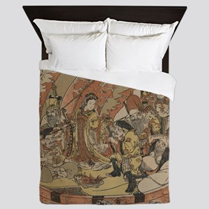 Seven Gods Of Good Fortune In The Trea Queen Duvet