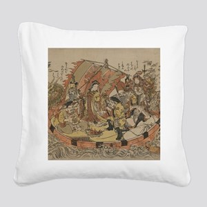 Seven Gods Of Good Fortune In Square Canvas Pillow