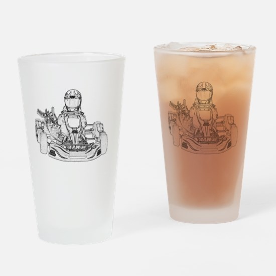 Kart Racing Pencil Sketch Drinking Glass