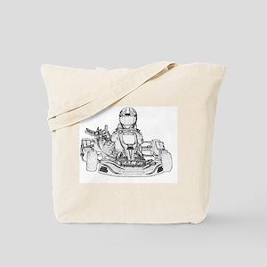 Kart Racing Pencil Sketch Tote Bag