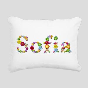Sofia Bright Flowers Rectangular Canvas Pillow