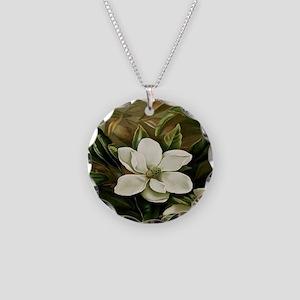 Magnolia Necklace Circle Charm