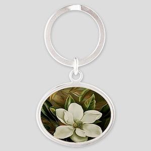 Magnolia Oval Keychain
