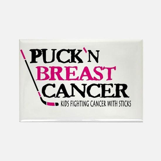 Puck Breast Cancer Kids w/ Sticks magnet