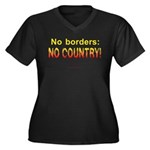 No Borders, No Country Wmns Plus Sz V-Neck Dk T