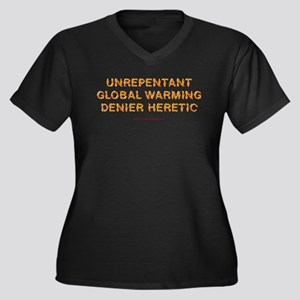 Global Warming Heretic Wmns Plus Sz V-Neck Dk Tee