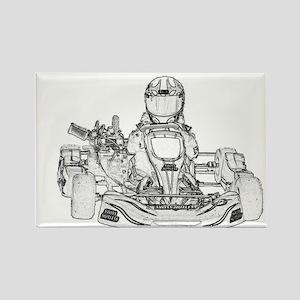 Kart Racer Pencil Sketch Magnets