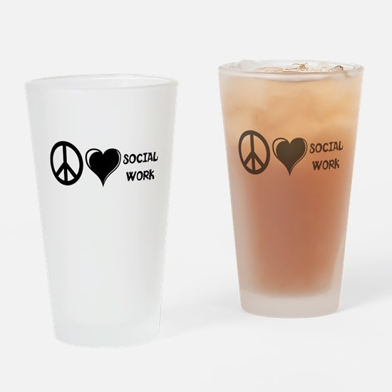 Peace,Love,Social Work Drinking Glass