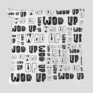 WOD Up Cross Fit  Woven Throw Pillow