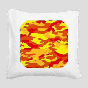 Camouflage (Orange/ Fire) Square Canvas Pillow