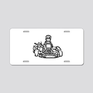 Kart Racer Dark Pencil Sketch Aluminum License Pla