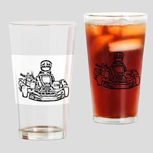 Kart Racer Dark Pencil Sketch Drinking Glass