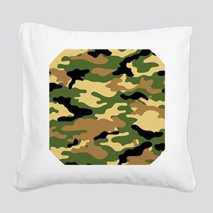 Camouflage (Olive / Green) Square Canvas Pillow
