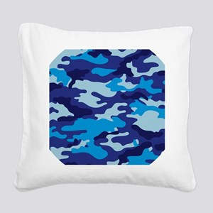 Camouflage (Blue / Cyan) Square Canvas Pillow