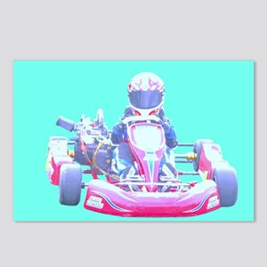 Kart Racer Blue Background Postcards (Package of 8