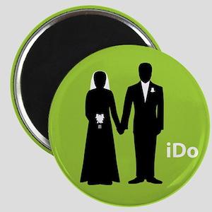 """I Do"" Bride & Groom Green Magnet"