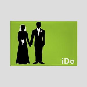 """I Do"" Bride & Groom Green Rectangle Magnet"