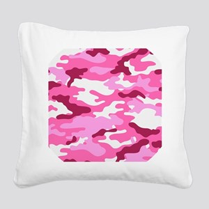 Camouflage (Red / Pink) Square Canvas Pillow