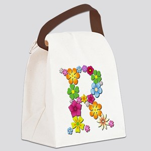 R Bright Flowers Canvas Lunch Bag