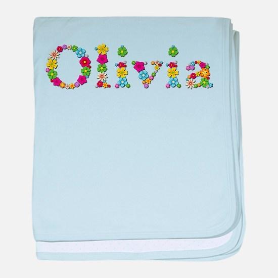 Olivia Bright Flowers baby blanket