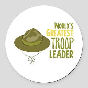 Greatest Troop Leader Round Car Magnet
