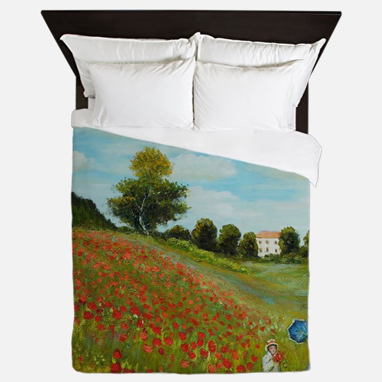 Poppy Field By Monet Queen Duvet