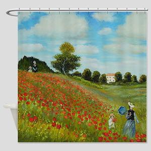 Poppy Field By Monet Shower Curtain