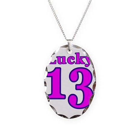 Lucky 13 Necklace Oval Charm