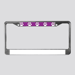 Purple and white paws pattern License Plate Frame