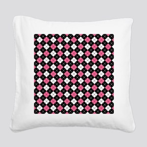 Argyle Pattern Black Pink and Square Canvas Pillow