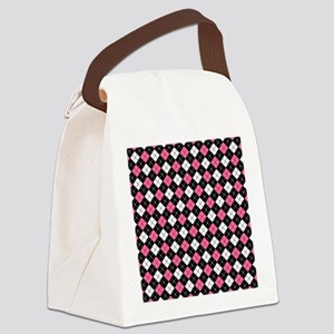 Argyle Pattern Black Pink and Whi Canvas Lunch Bag