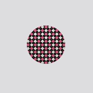 Argyle Pattern Black Pink and White Mini Button
