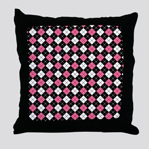 Argyle Pattern Black Pink and White Throw Pillow