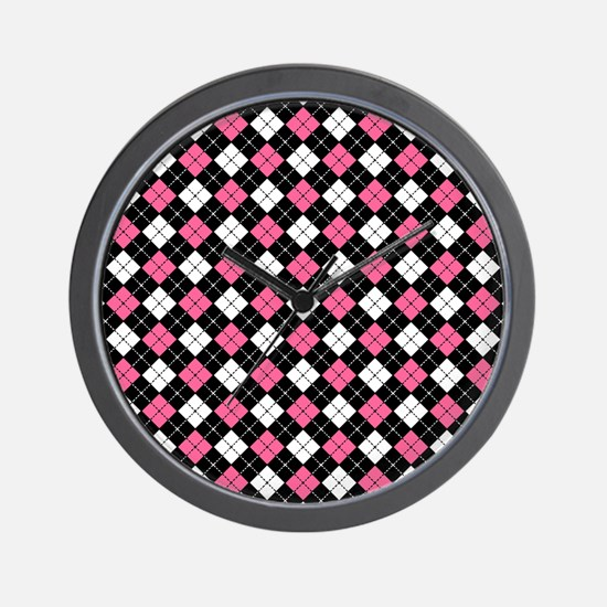 Argyle Pattern Black Pink and White Wall Clock