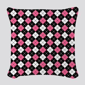Argyle Pattern Black Pink and  Woven Throw Pillow