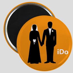 """""""I Do"""" Bride & Groom Orange Magnet"""