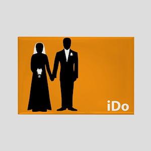 """""""I Do"""" Bride & Groom Orange Rectangle Magnet"""