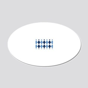 UNC Argyle Carolina Blue Tar 20x12 Oval Wall Decal