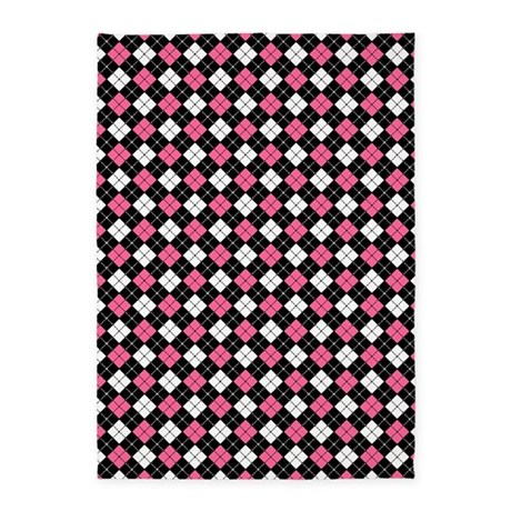 argyle pattern black pink and white 5 39 x7 39 area rug by admin cp21872627. Black Bedroom Furniture Sets. Home Design Ideas
