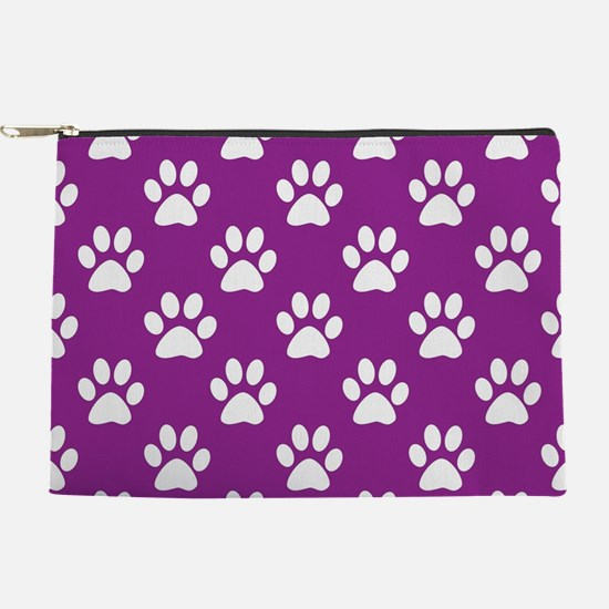 Purple and white paws pattern Makeup Pouch