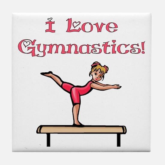 I Love Gymnastics Tile Coaster