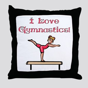 I Love Gymnastics Throw Pillow