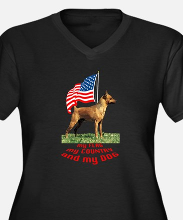 minpin with flag Women's Plus Size V-Neck Dark T-S