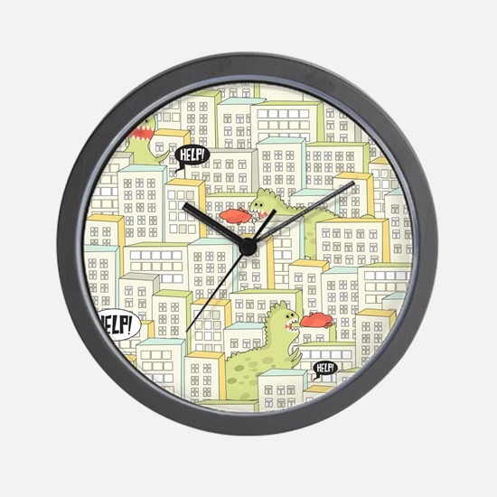 Monsters Attack City Wall Clock
