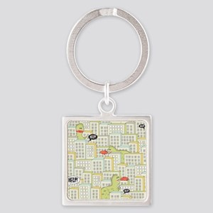 Monsters Attack City Square Keychain