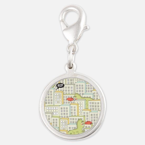 Monsters Attack City Silver Round Charm