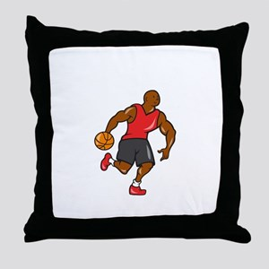 Basketball Player Dribbling Ball Cartoon Throw Pil
