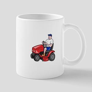 Gardener Mowing Rideon Lawn Mower Cartoon Mugs