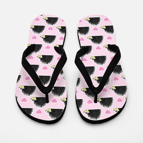 Cute Happy Hedgehog Pattern Pink Flip Flops