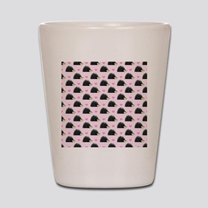 Cute Happy Hedgehog Pattern Pink Shot Glass